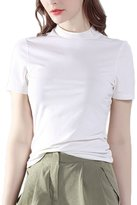 Bmeigo Women Cotton Casual Mock Neck Short Sleeve Slim T-Shirt -K11