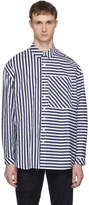 Sunnei Navy and White Asymmetric Stripe Shirt