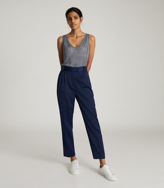 Reiss ALICE METALLIC KNITTED TOP Blue