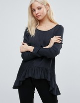 Vila Long Sleeve T- Shirt With Peplum Hem