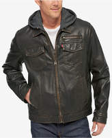 Levi's Men's L27 Faux Leather Trucker Jacket with Bib & Hood