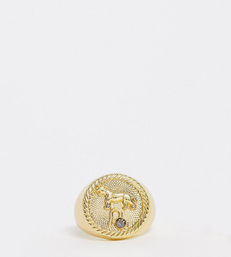Reclaimed Vintage inspired 14k gold plate leo star sign coin ring