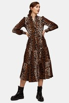 Topshop Animal Tiered Shirt Dress