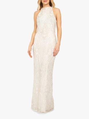 Beaded Dreams Embellished Sleeveless Halterneck Maxi Dress, White