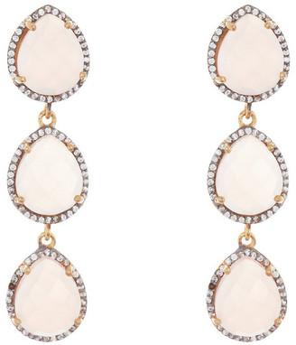 Adornia Fine Jewelry 18.00 Ct. Tw. Pink Chalcedony Three Drop Earrings