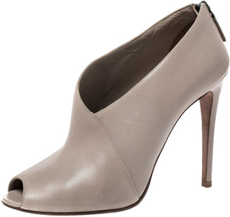 Prada Grey Leather Asymmetric Peep Toe Ankle Booties Size 38