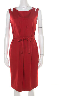 Paule Ka Red Cutout Shoulder Detail Pleated Sleeveless Belted Dress M