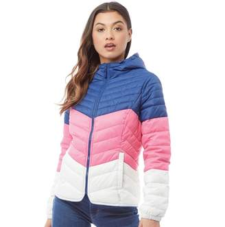 Only Womens Demi Colour Block Quilted Hooded Jacket Navy/Peony/White