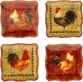 Certified International Tuscan Rooster Set of 4 Canap Plates