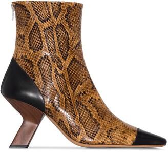 REJINA PYO 80 Snake Print Ankle Boots