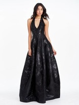 Halston Lurex Floral Jacquard Gown