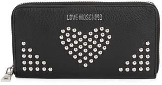 Love Moschino Studded Zip-Around Leather Wallet