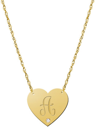 Jane Basch 22K Over Silver Diamond A-Z Heart Necklace