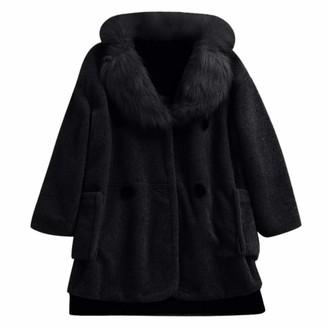 Celucke 2019 New Women's Exquisite Faux Fur Coat Soft Fleece Thick Jacket Plus Size Overcoat Outwear Tunic Black