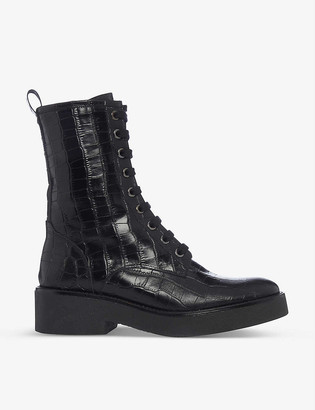 Bertie Crocodile-embossed leather ankle boots