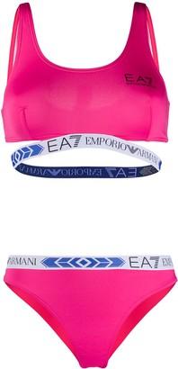 EA7 Emporio Armani Logo-Tape Scoop-Neck Bikini