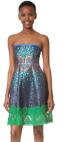 Cynthia Rowley Peacock Jacquard Strapless Dress