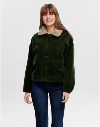 Only Corduroy Short Jacket with Faux Fur Lining and Pockets