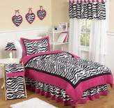 JoJo Designs Hot Pink, Black & White Funky Zebra Childrens and Kids Bedding 4 Piece Girls Twin Set