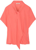 Etro Pussy-bow Silk Crepe De Chine Blouse - Coral