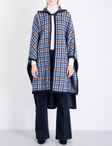 Stella McCartney Hooded oversized check wool-blend cape