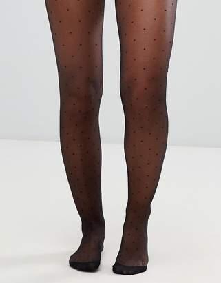 Asos Design DESIGN mini dot tights in black
