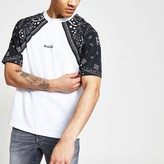 River Island Mens Undefined White raglan boxy fit T-shirt