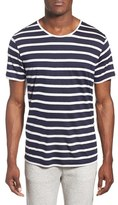 Daniel Buchler Men's Modal & Linen Stripe Short Sleeve T-Shirt