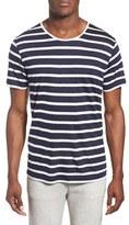 Daniel Buchler Modal & Linen Stripe Short Sleeve T-Shirt