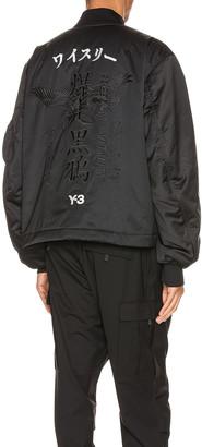 Yohji Yamamoto Graphic Bomber Jacket in Black   FWRD
