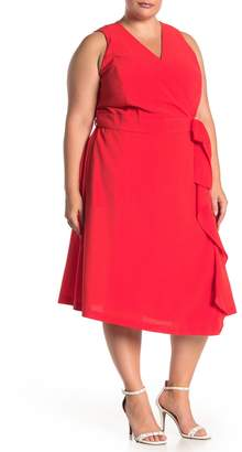 Rachel Roy Sleeveless Wrap Midi Dress (Plus Size)