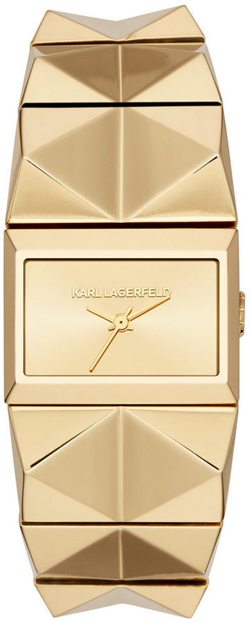 Karl Lagerfeld Women's Perspektive Gold Ion-Plated Stainless Steel Pyramid Stud Bracelet Watch 20x27mm KL2604