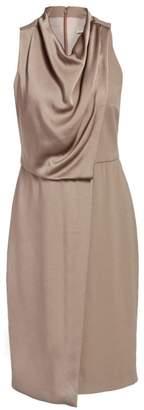 Halston Sleeveless Cowl Drape Satin Wrap Sheath Dress