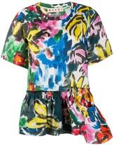 Marni abstract print peplum blouse