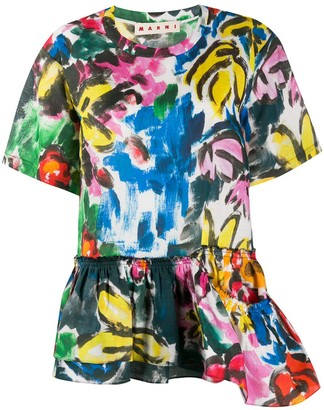 Marni Abstract Print Peplum Blouse