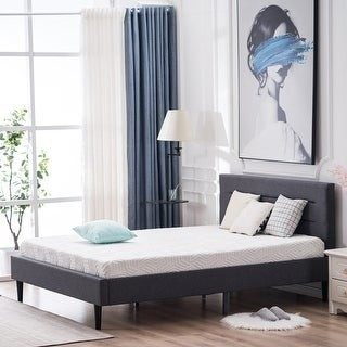 Overstock Upholstered Wood Slat Platform Bed Headboard and Metal Frame Queen Size