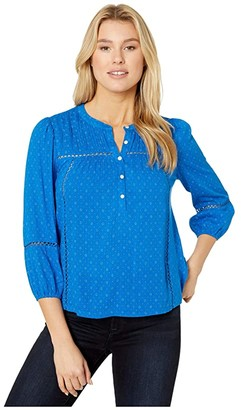 Lucky Brand Inset Lace Popover Blouse (Cobalt Multi) Women's Clothing