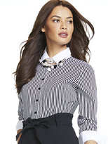 New York & Co. 7th Avenue - Madison Stretch Shirt Bodysuit - Stripe