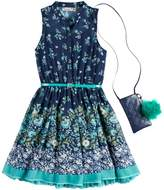 Knitworks Girls 7-16 & Plus Size Floral Belted Skater Dress with Necklace & Crossbody Purse