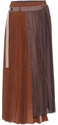 Sacai Pleated asymmetric midi skirt
