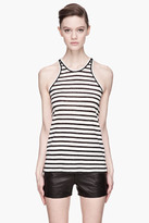 Alexander Wang Black and heather white Striped Linen-silk Tank top