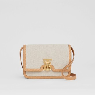 Burberry Small Two-tone Canvas and Leather TB Bag
