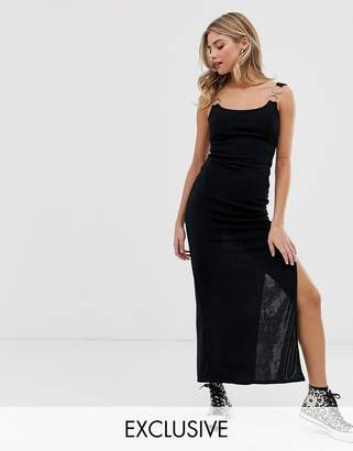 Another Reason fitted midi dress with ring detail-Black