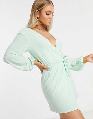 Club L London Club L slinky wrap dress with plunge front in mint