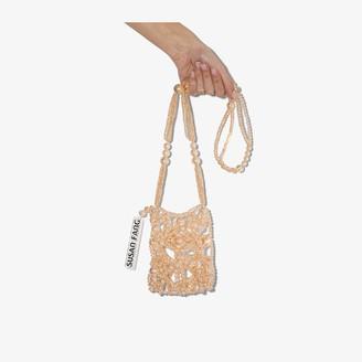 Susan Fang beige Bubble beaded cross body bag
