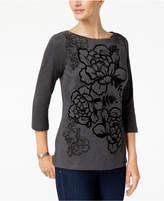 Karen Scott Petite Cotton Printed Top, Created for Macy's