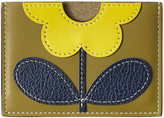 Orla Kiely Giant Flower Leather Card Holder - Moss
