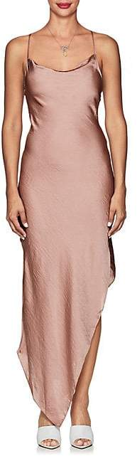 Juan Carlos Obando Women's Asymmetric Washed Satin Cowlneck Dress - Blush