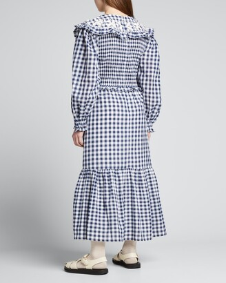 Sea Gina Gingham Smocked Dress w/ Embroidery