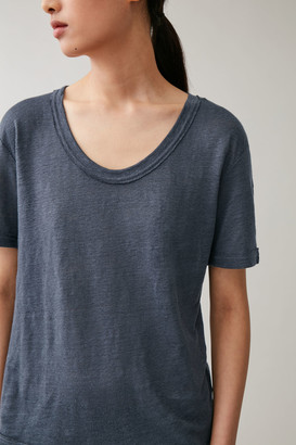 Cos Linen T-Shirt With Raw Edges